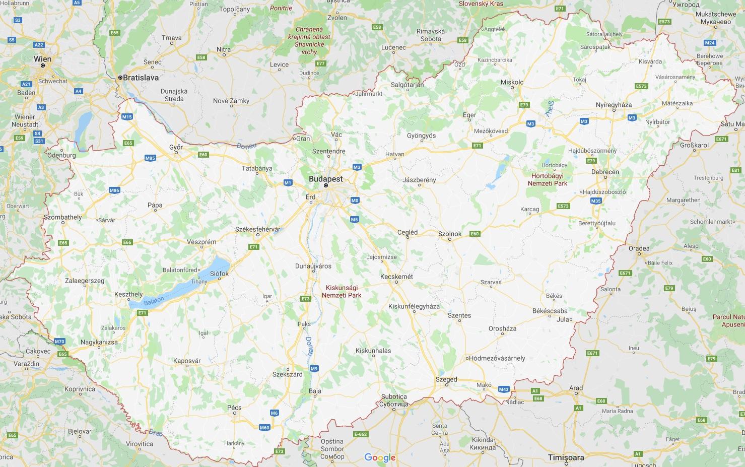 Karte von Ungarn mit Angelspots